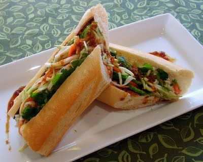 Banh Mi Sandwich | Leafy Greens and Me  --  Looks legit!  Recipe sounds like the sandwich we get from our local Vietnamese shop in Chicago.  Can't wait it give it a try!