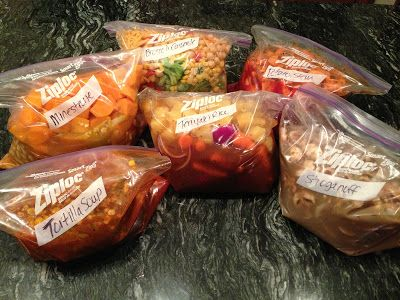 VEGAN Crock Pot FREEZER Meals (I would probably make some small changes but they sound yummy!)