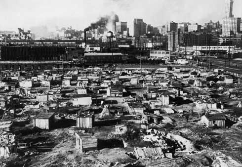 The Great Depression: during the Great Depression, tent cities or shanty towns were built by the poor for the poor. They were also known as Hoovervilles.