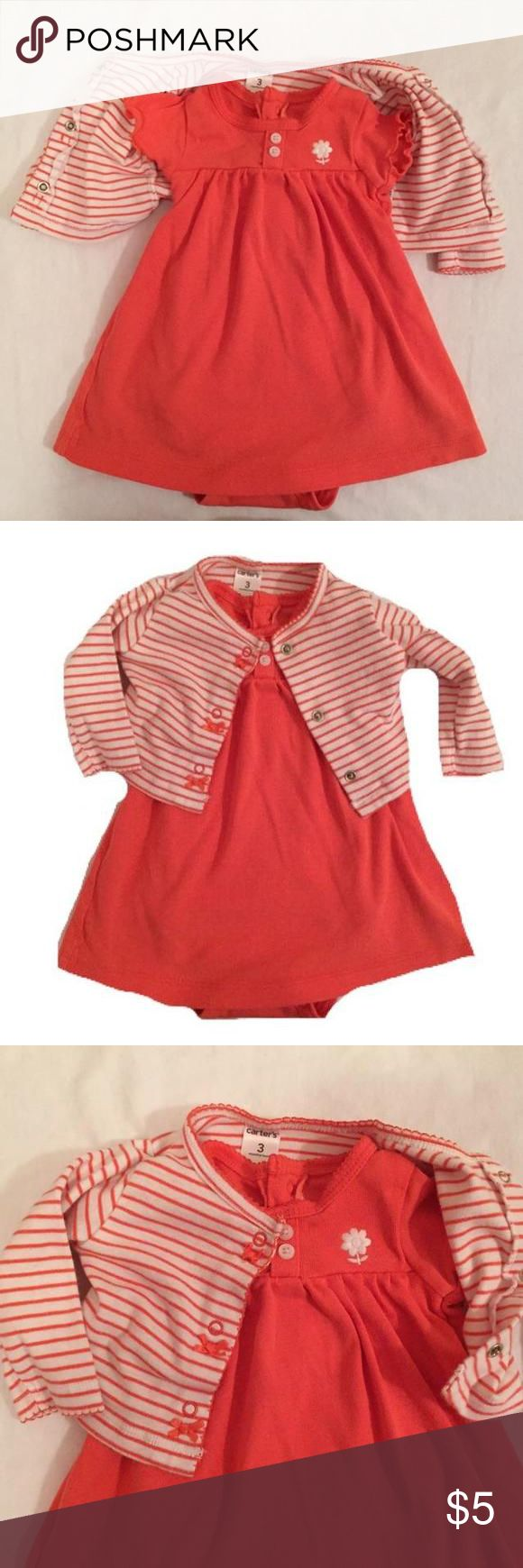 Carters dress and shrug Cotton summer dress and matching shrug for baby girl! Practically brand new! Carters Dresses