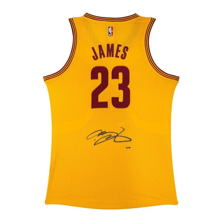 LEBRON JAMES Signed Cavaliers Alternate Yellow Authentic Jersey UDA. at Amazon's Sports Collectibles Store