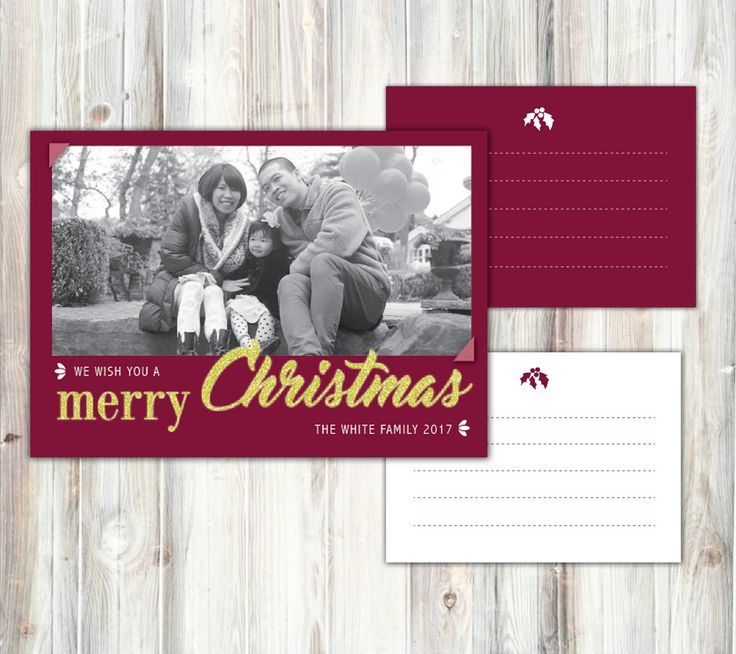 CHristmas greeting card, purple red. Black and white photo, Gold text, digital by miHappyDay on Etsy