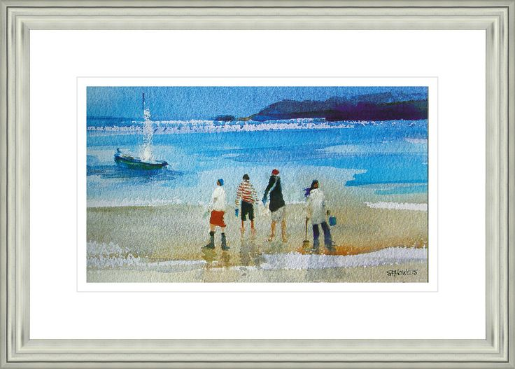 'Looking For Crabs' by Sue Howells.  High Quality Reproduction Framed Print finished with glass panel & expertly framed by Spires Art framing team. Size: 14in X 18in