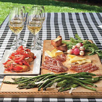 Antipasto Platter:  Offer an antipasto platter of Grilled Tomato Bruschetta and Simple Grilled Asparagus.