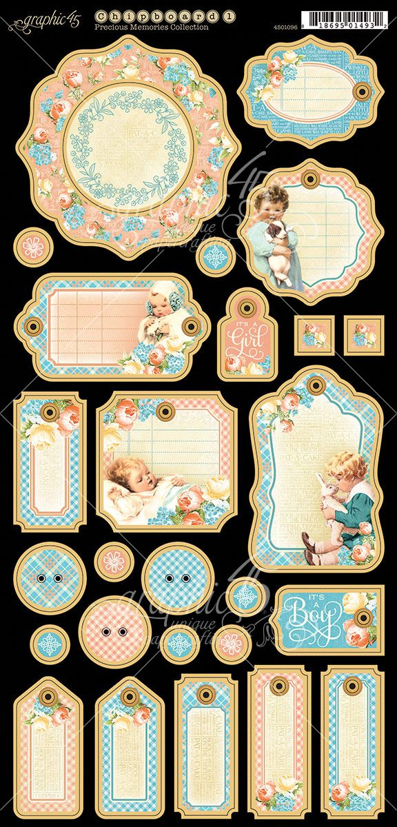 The Journaling Chipboard 1 from Precious Memories, a new collection from Graphic 45. Look for it in stores in mid-February! #graphic45 #sneakpeeks #chashow