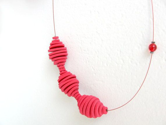 geometric minimal necklace with red foam rubber by pergamondo