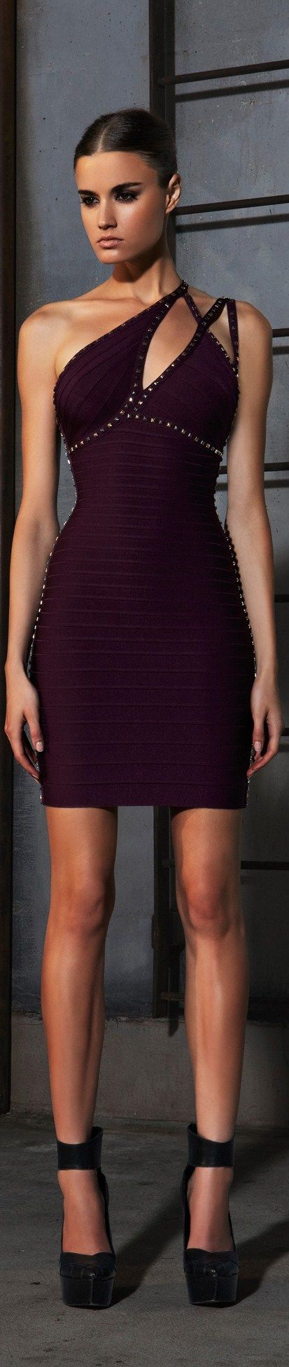 PRE-FALL 2013 Hervé Léger by Max Azria - aubergine dress