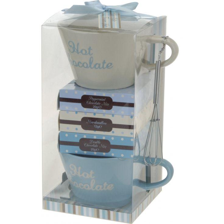 Cadeau set hot chocolate. Een leuk setje bestaande uit 2 bekers, een mini klopper, pepermunt chocolade (20gr), een doosje marshmallows (12gr) en dubbele chocolade mix (20gr).