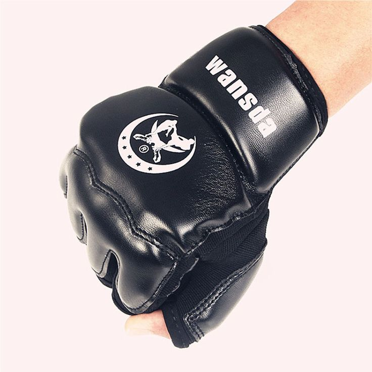 Leather Half Finger Fight MMA Boxing Gloves Mitts Karate Taekwondo Sandbag Protector For Boxeo Muay Thai Kick Training glove