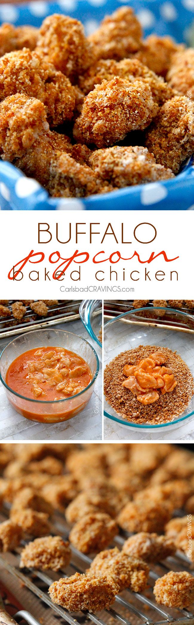 Baked Buffalo Popcorn Chicken are so addictingly crispy, better than any chicken nugget! Dunked in buffalo sauce then baked with spiced panko and cornmeal. And the creamy Honey Buffalo Dip is heavenly!