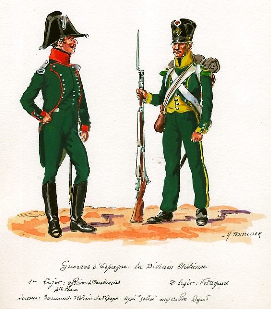 Italy; Italian Division in Spain; 1st Light Infantry, Carabiner Officer in Petitie Tenue & 2nd Light Infantry, Voltigeur