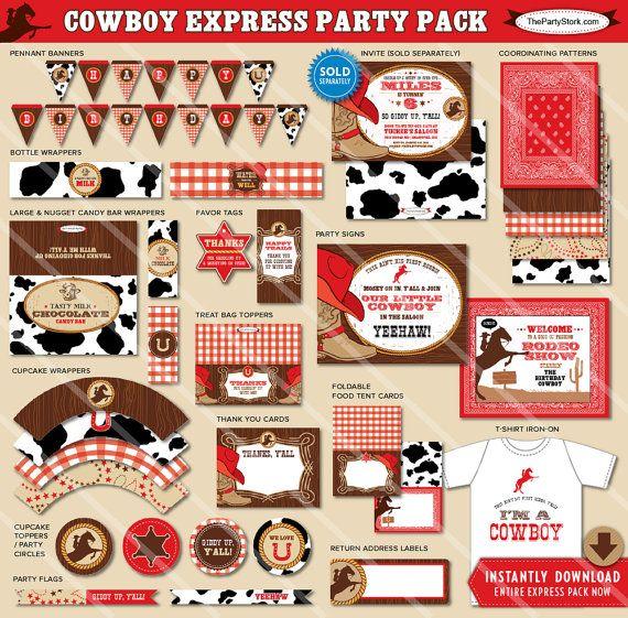 Le forfait anniversaire Party de cow-boy | Décorations Western imprimables | Garçon rouge | Invitation disponible | Express Party Pack est un téléchargement instantané