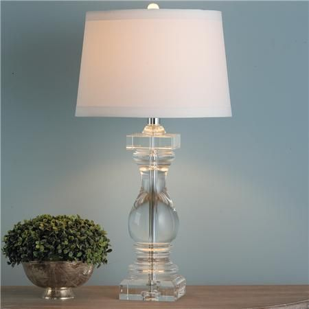 $499 Crystal Clear Balustrade Table Lamp Solid crystal is carved ...