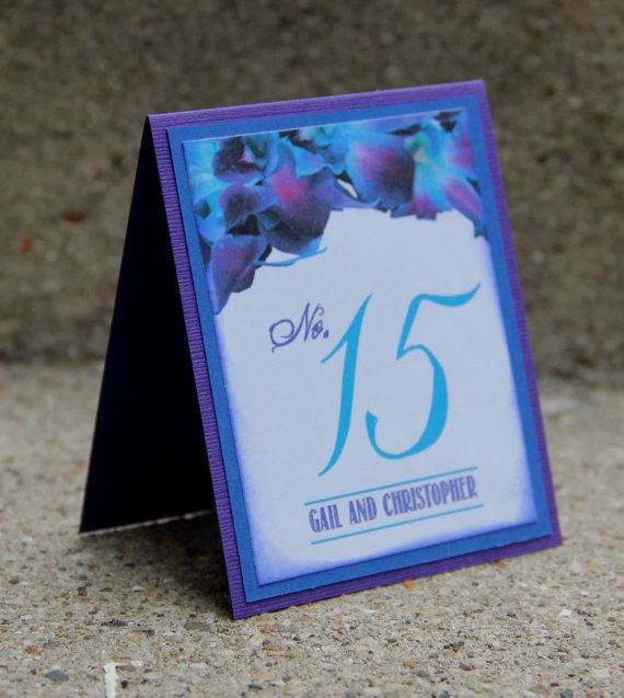 Handmade Table Numbers, Purple and Blue, Dendrobium Orchid, Wedding, Special Event, Reception, Tented
