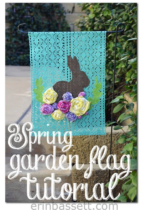 Made from a placemat...Spring Garden Flag with rolled flowers. She used a ScanNCut to cut out the Easter Bunny. So cute!