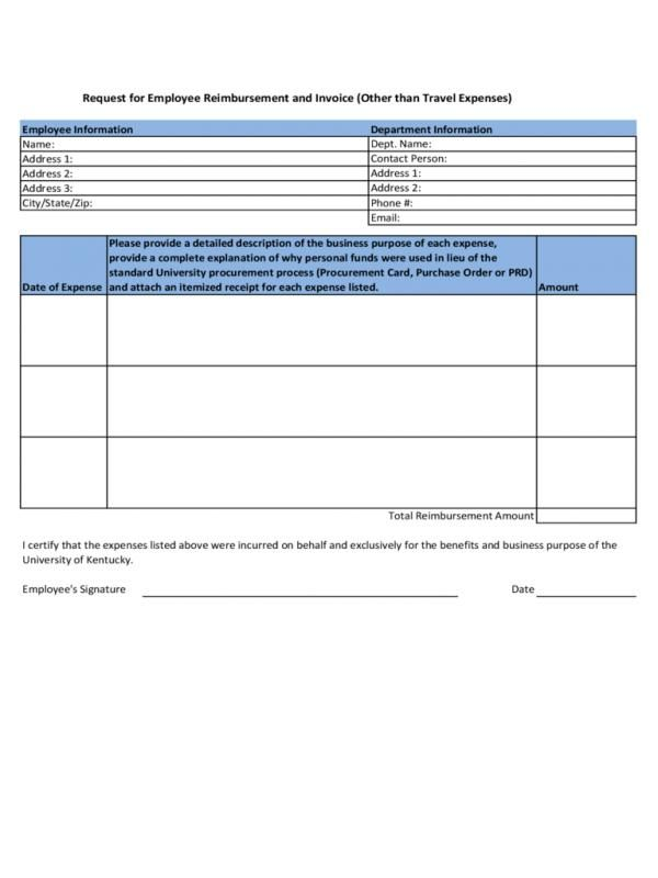 Employee Reimbursement Form Check More At Https