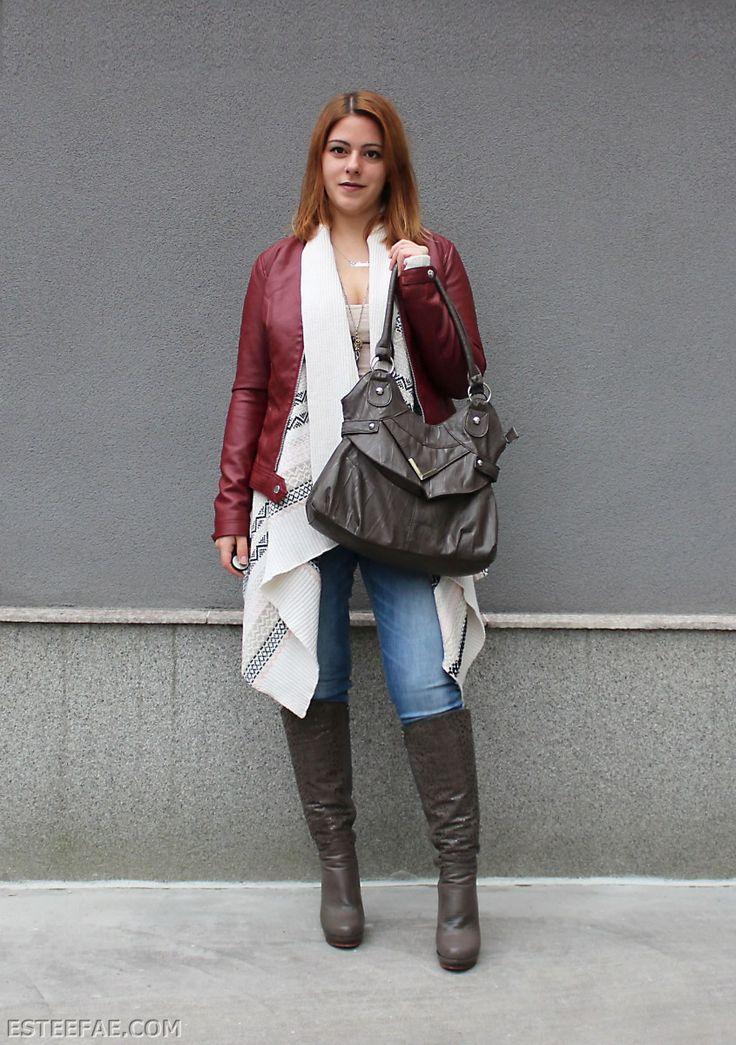 BURGUNDY LEATHER JACKET CARDIGAN u0026 HEELS u2013 FALL OUTFIT | Sexy Winter Styles | Pinterest ...