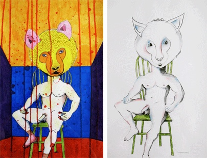 """painting in paper. """"the devil inside, color & white"""""""