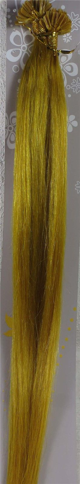 """100S 18""""-26"""" Nail Tip Pre Bonded Fusion Remy Human Hair Extension Yellow, 1G/S"""