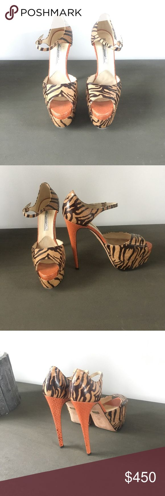 Brian Atwood Leather Platform Gorgeous leather animal print platform stilettos - Barely worn! Brian Atwood Shoes Heels