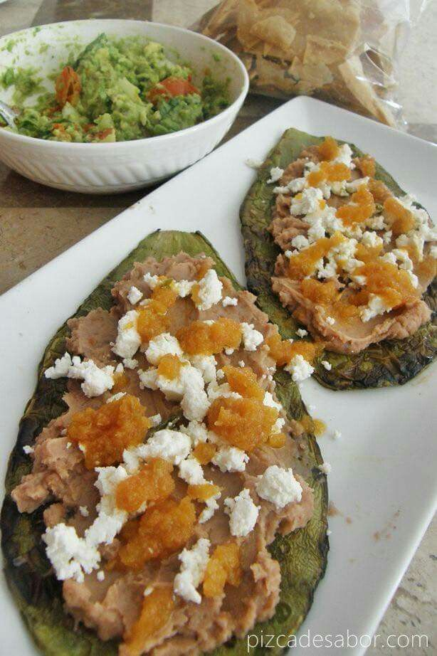 Bean chalupa/tostada with grilled cactus/nopal instead of tortilla