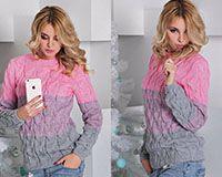 Вязанный свитер серо-розовый