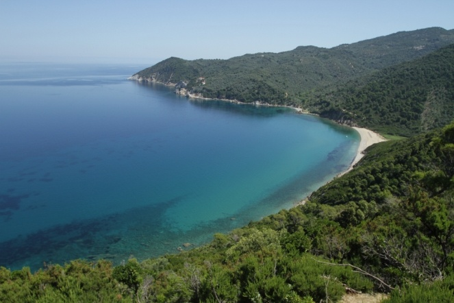 The peaceful Ligaries beach at Skiathos, Greece.