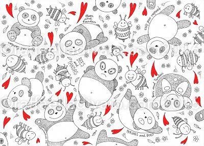 raffaelladivaio*illustrazione e creatività: PANDAS and BEES PANDAS and BEES (carini e coccolosi) grafica a china su carta+elaborazione digitale, cm. 25x35 ©raffaelladivaio.com2016
