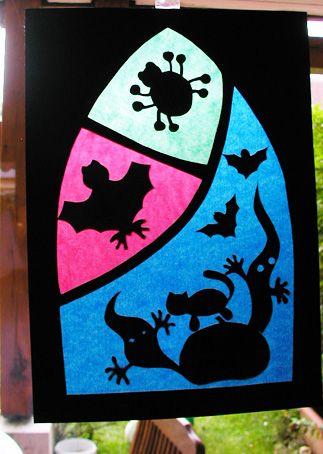 halloween décors de fenêtre en papier vitrail - Tête à modeler