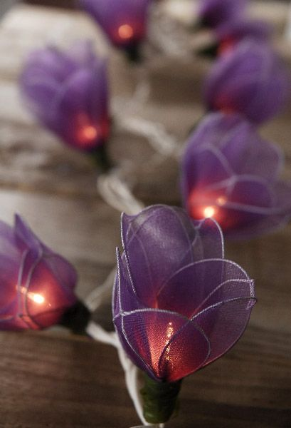 Purple Tulip Flower Lights 20 Nylon Flowers 10 Feet $15 set / 3 sets $14 each