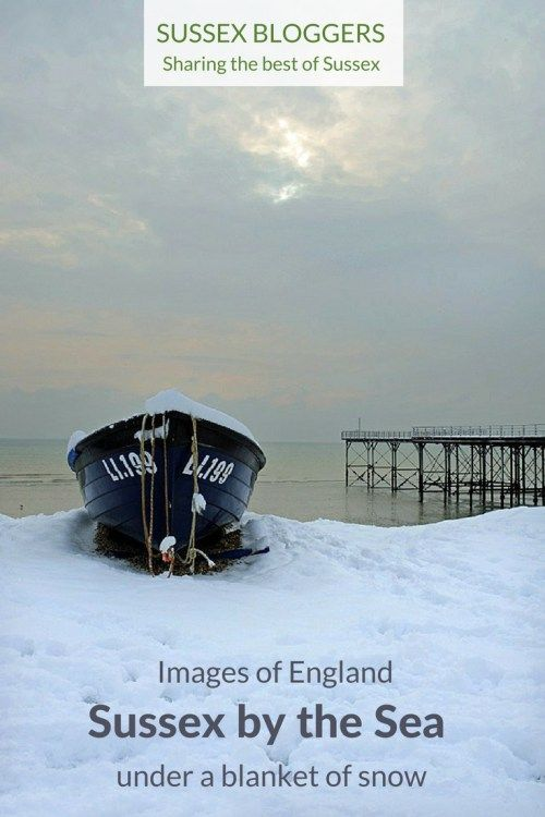 Images of the seaside resort of Bognor Regis in West Sussex, England under a blanket of snow