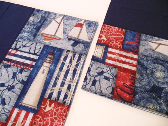 Nautical Placemats Quilted Fabric Red White Blue by FernsAtTheLake, $40.00