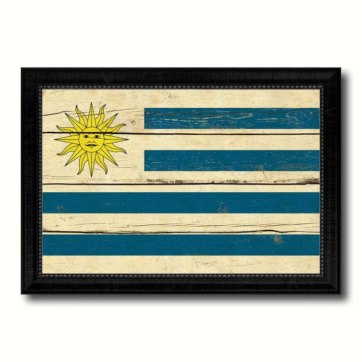 Uruguay Country Flag Vintage Canvas Print with Black Picture Frame Home Decor Gifts Wall Art Decoration Artwork
