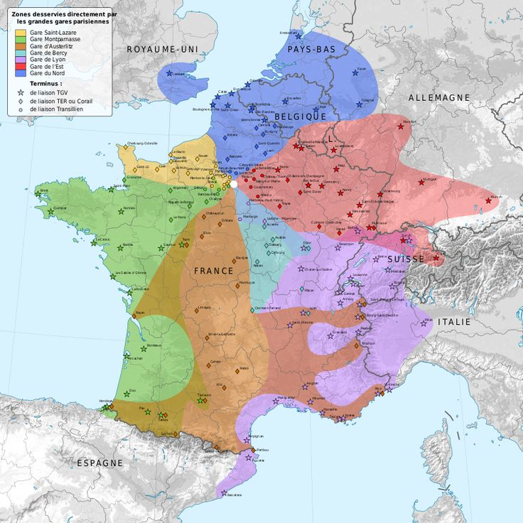 Railway stations on departure from Paris map-fr - Gare de Paris-Saint-Lazare — Wikipédia