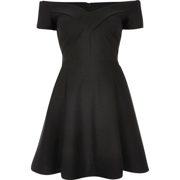 River Island Black scuba bardot skater dress found on Polyvore featuring dresses, black, skater dresses, women, short sleeve black dress, black skater skirt, skater dress, flare dress and flared skater skirt