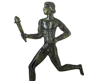 Ancient Greece Olympic Flame Torchbearer Hand-Made Bronze Sculpture Bronze Statue Olympic Athletes Collectible Art