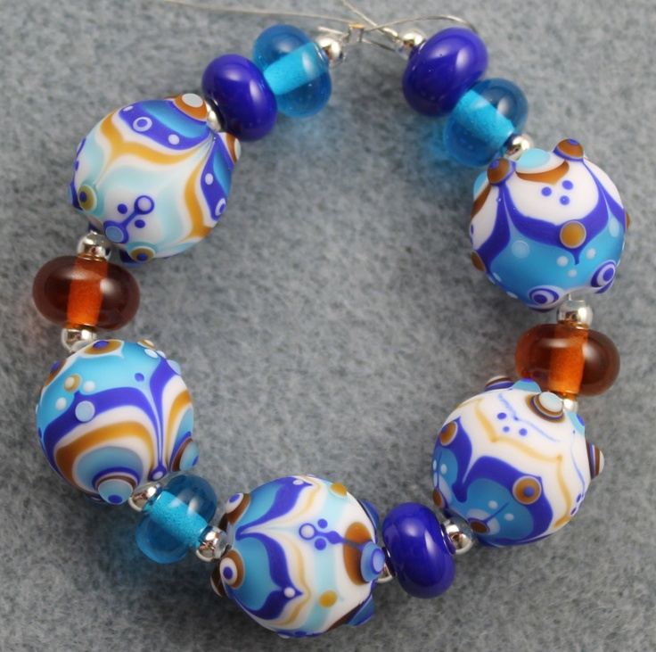 ice baubles lampwork bead set by pixie willow designs