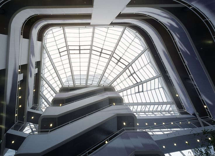 Glass roof of the multi-tenant office building at Odense Habour by Henning Larsen Architects. Photo by Adam Mørk