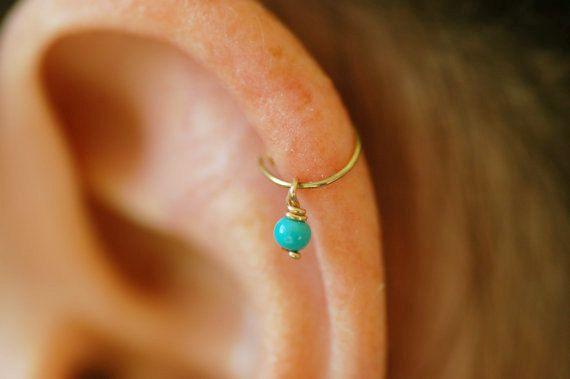 Petite hélice Turquoise Cartilage boucle d'oreille hoop, or bague avec turquoise piercing, cerceau argenté cartilage or, boucle d'oreille tragus turquoise