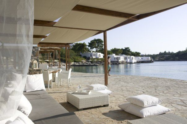 Beach front Pure Lounge Bar at Minos Beach Art Hotel in Crete