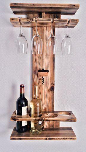 Rustikale Holz Weinregal Weinregal Weinflaschenhalter