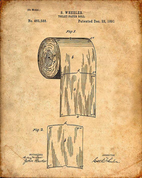 Patent Print van een wc-papier rollen Patent Art Print Patent Poster badkamer