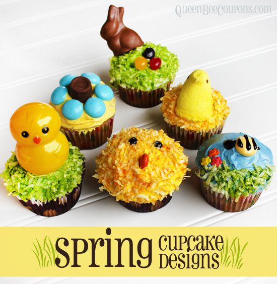 Spring Cupcake Designs – 6 Easy Spring and Easter Cupcake Designs from @Queen Bee Coupons