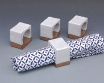 Geometric Napkin Ring – White Ceramic Napkin Rings…