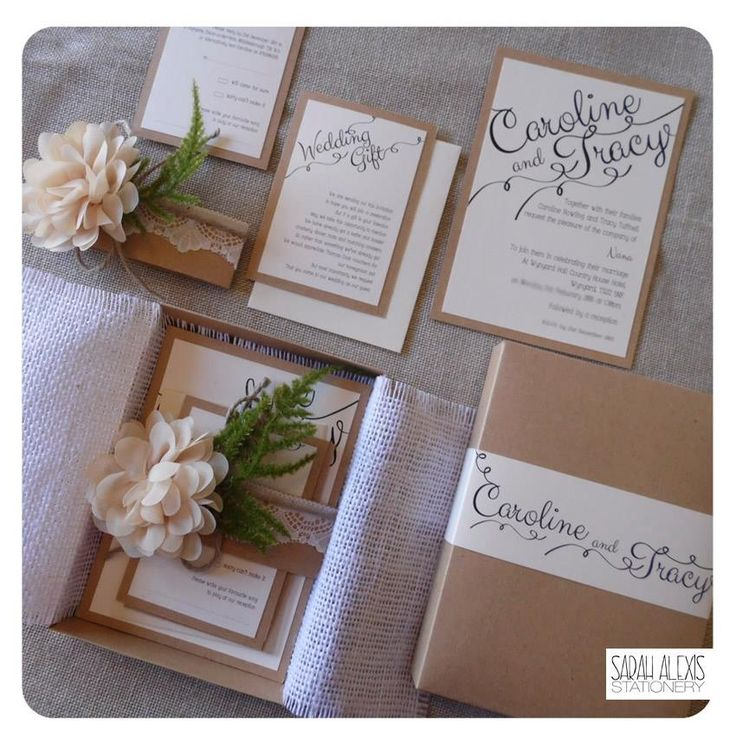 Rustic Wedding invitation with twine lace and