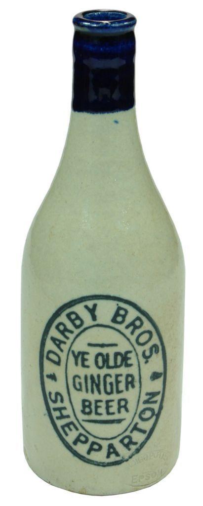Darby Bros., Ye Olde Ginger Beer, Shepparton. Bendigo Pottery stamp. Blue lip, champagne shape. c1920s