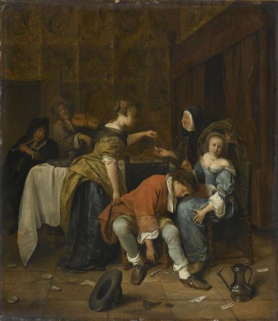 """The Bad Company""  --  Circa 1665  --  Jan Steen  --  Dutch  --  Oil on canvas  --  The Louvre  --  Paris, France"