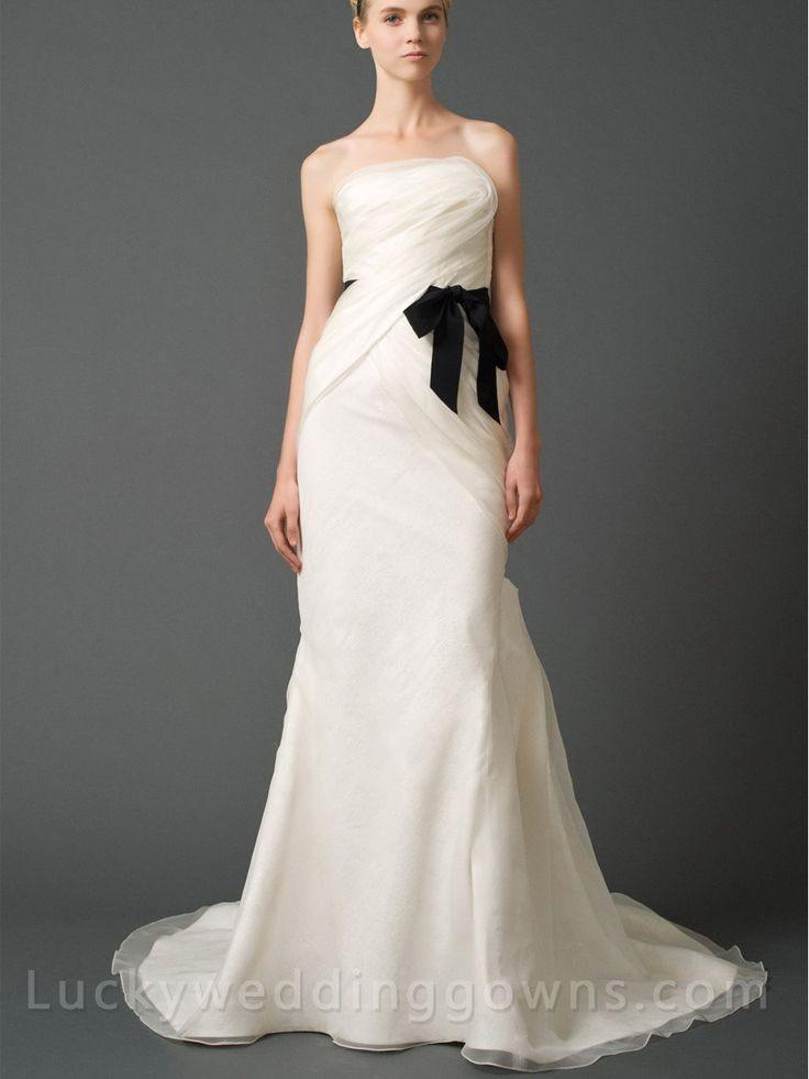 Luxury Strapless Column Wedding Dress with Asymmetrical Draped Bodice