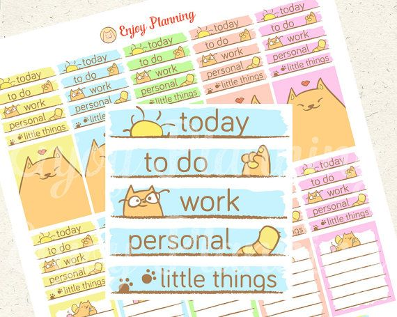 Planner Stickers Printable: weekly set with cute cats! PRINTABLE IS FOR DOWNLOAD ONLY This weekly planner stickers are sized to fit in weekly