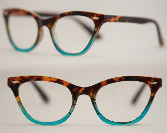 Cat Eye Brille Nerd Brille 50er Jahre Klarglas Pinup leopard rot lila türkis 361